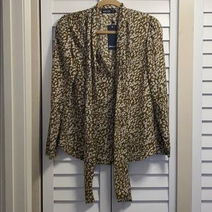 Nasty Gal Meow We Like It Leopard Pussybow Blouse